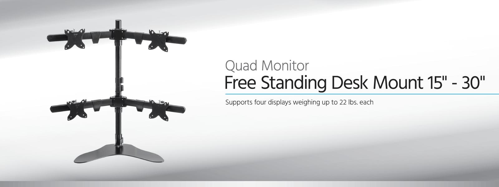 Freistehende Tischhalterung für vier Monitore