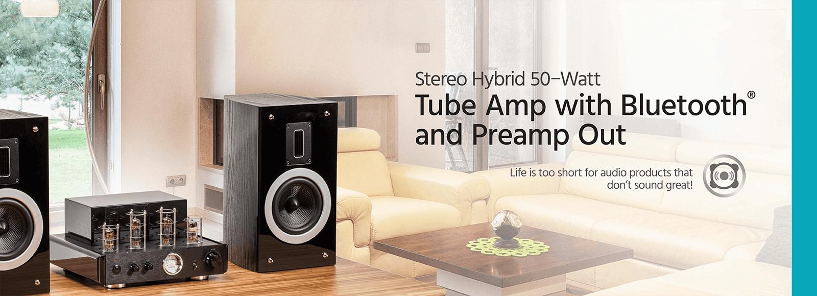 Compact Stereo Hybrid 50-Watt Tube Amp with Bluetooth