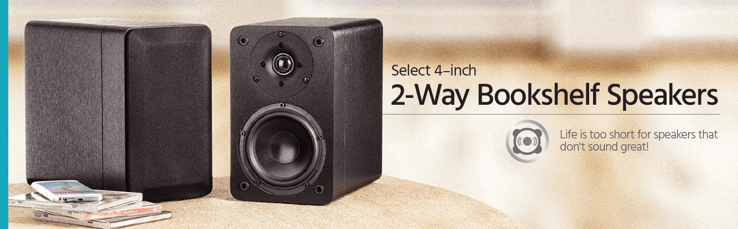 Select 4 Inch 2 Way Bookshelf Speakers