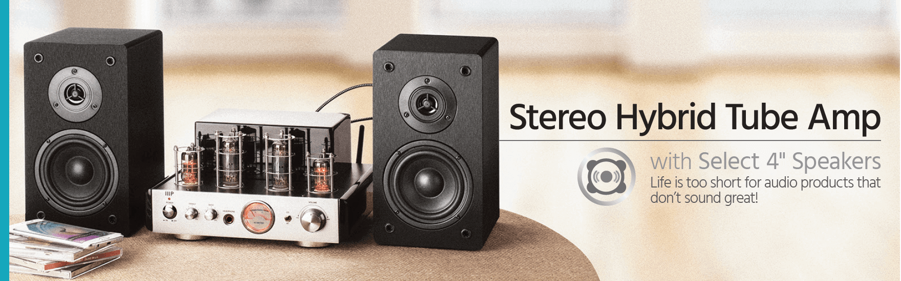 Stereo Hybrid Tube Amp with Select 4-inch Speakers