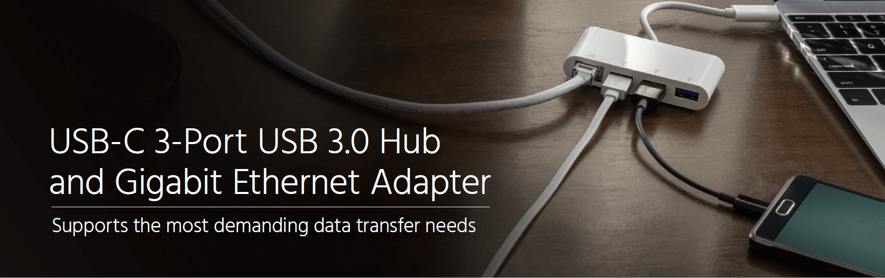 USB-C 3-Port USB 3.0 Hub and Gigabit Ethernet Adapter