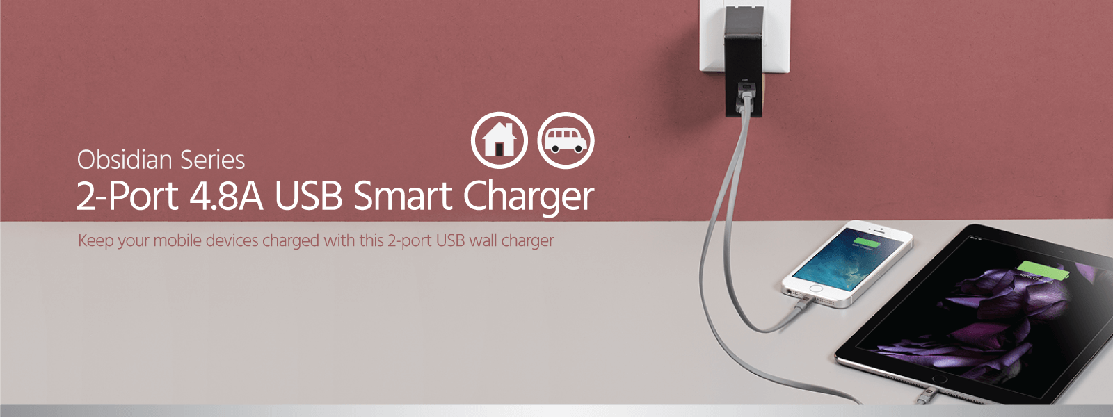 2-Port 4.8A USB Smart Charger