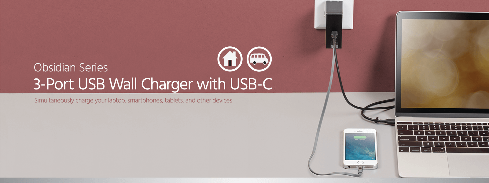 3-Port USB Wall Charger with USB-C