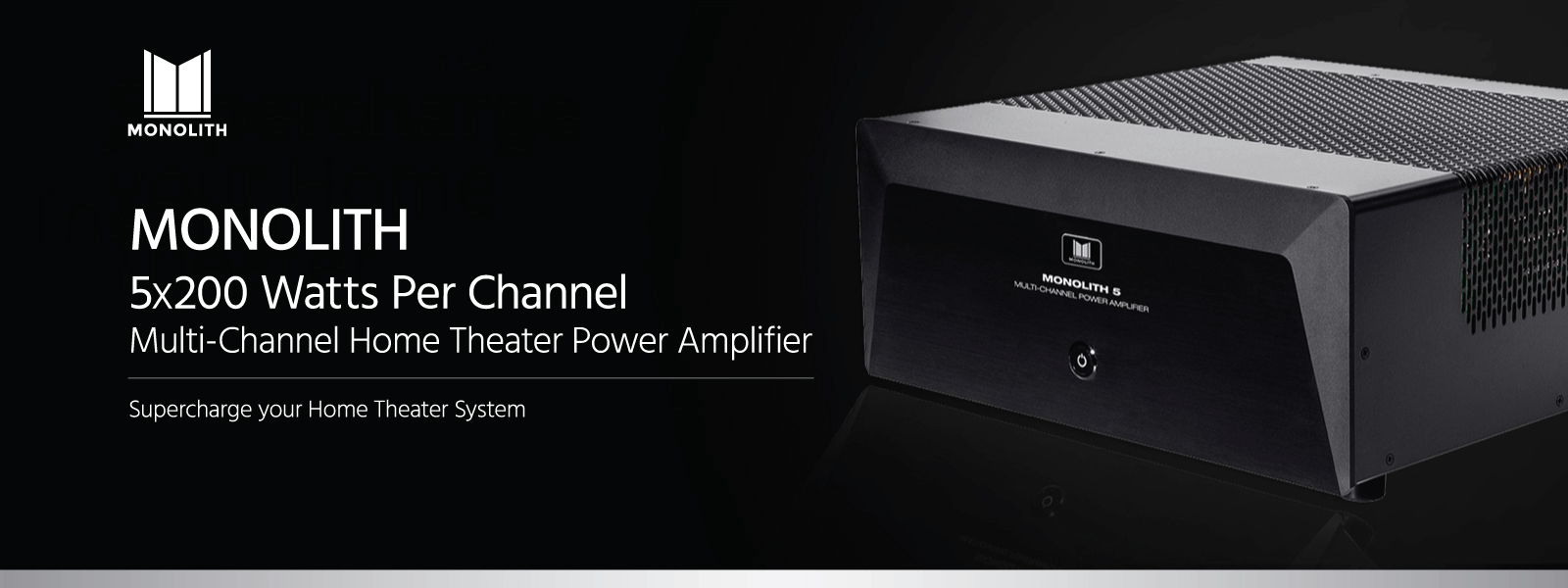 monolith 5x200 watts per channel multi channel home theater power amplifier with xlr inputs. Black Bedroom Furniture Sets. Home Design Ideas