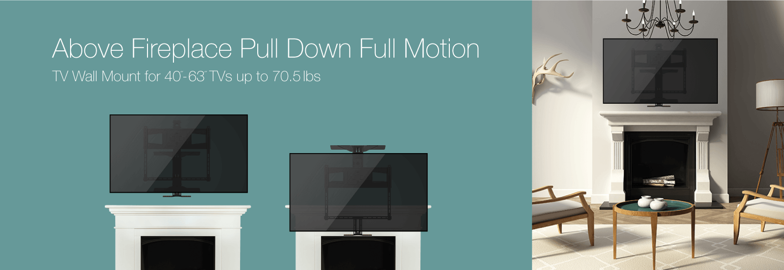 above fireplace pulldown fullmotion tv wall mount