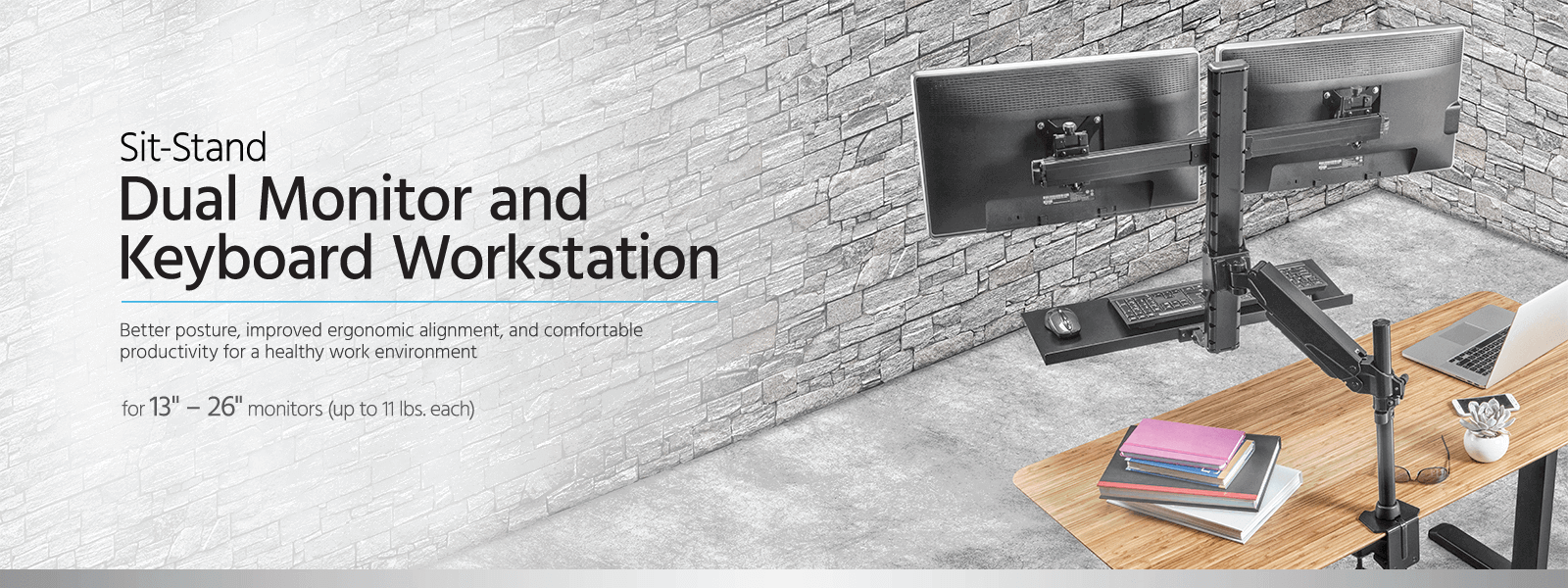 Sit-Stand Dual Monitor and Keyboard Workstation
