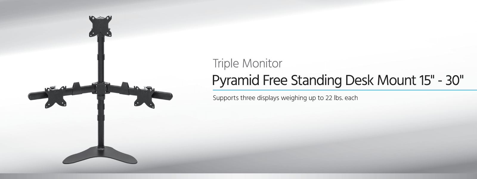 Freistehende Tischhalterung in Pyramidenform für drei Monitore