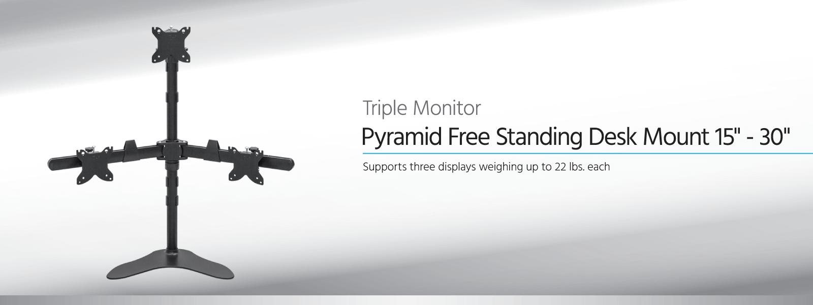 Monoprice Triple Monitor Pyramid Free Standing Desk Mount