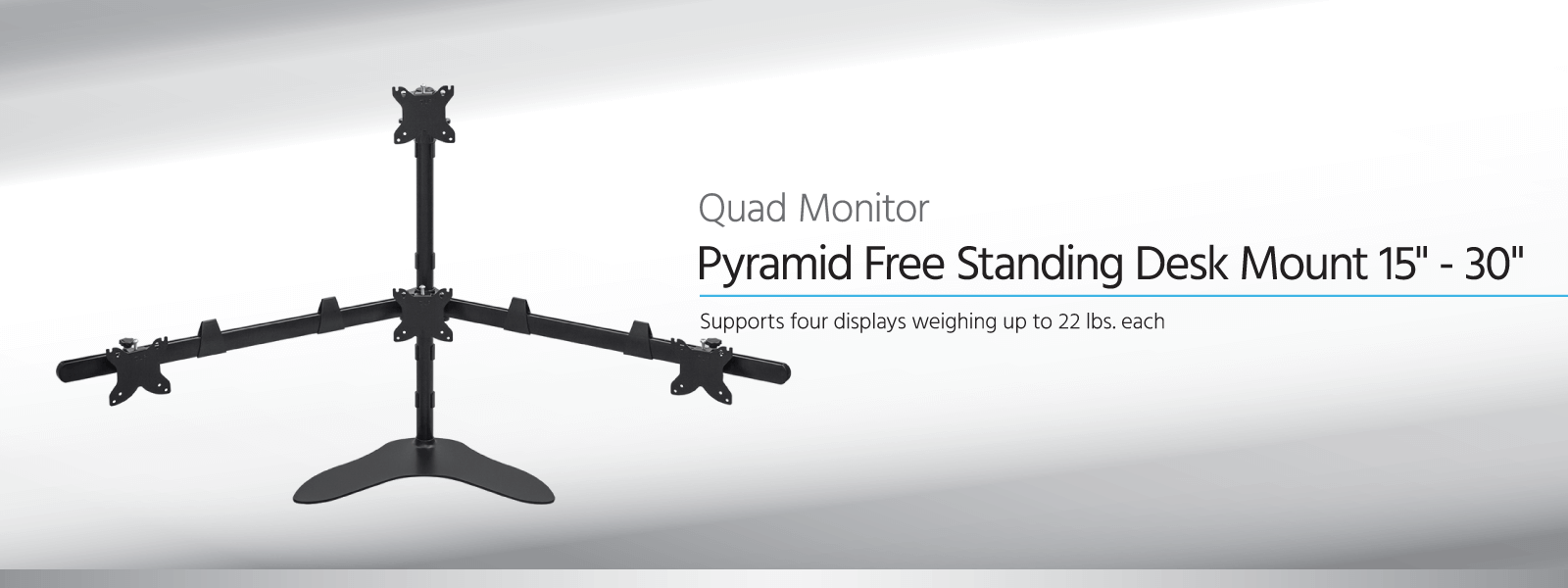 Quad Monitor Pyramid Free Standing Desk Mount
