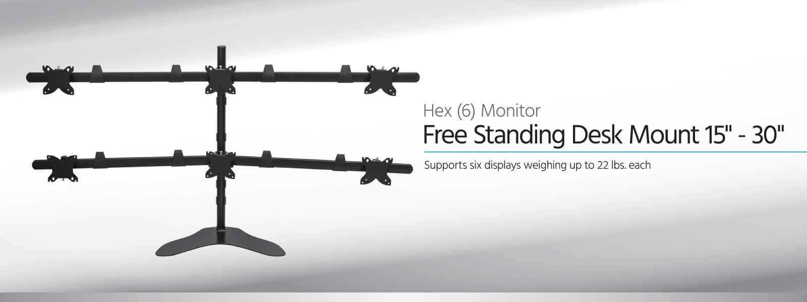 Freistehende Tischhalterung für sechs (6) Monitore