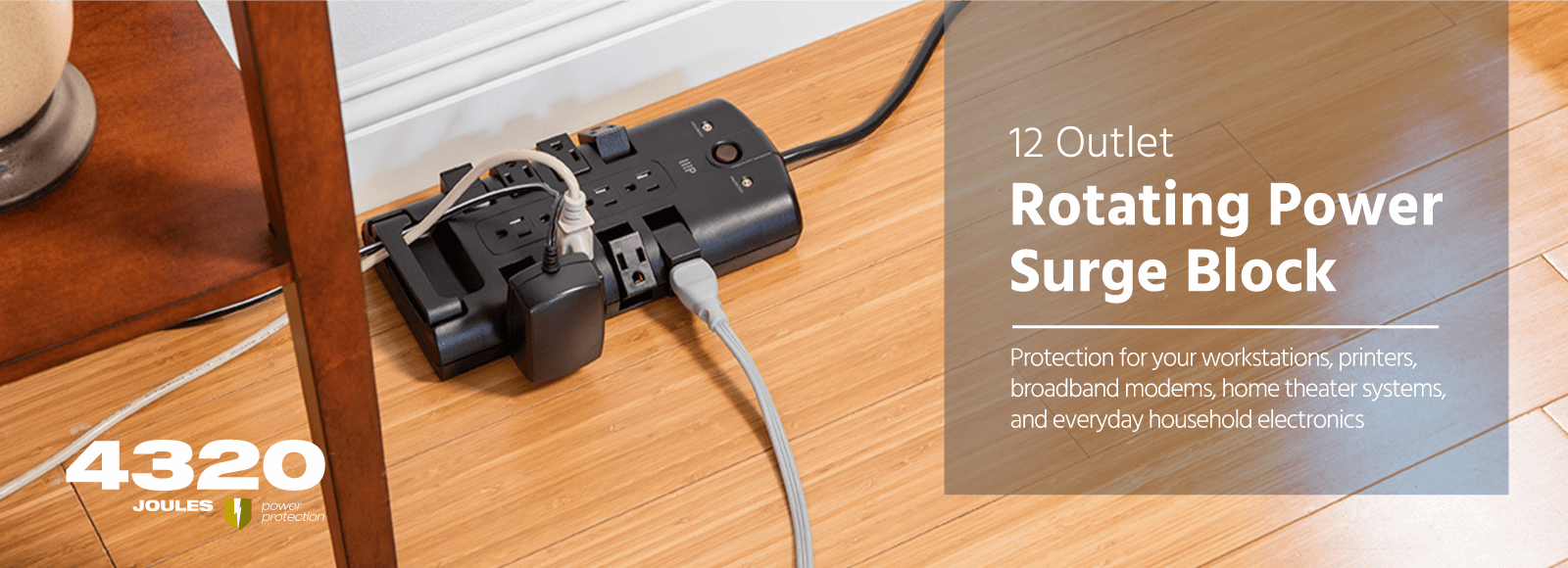 12 Outlet Rotating Block Surge Protector