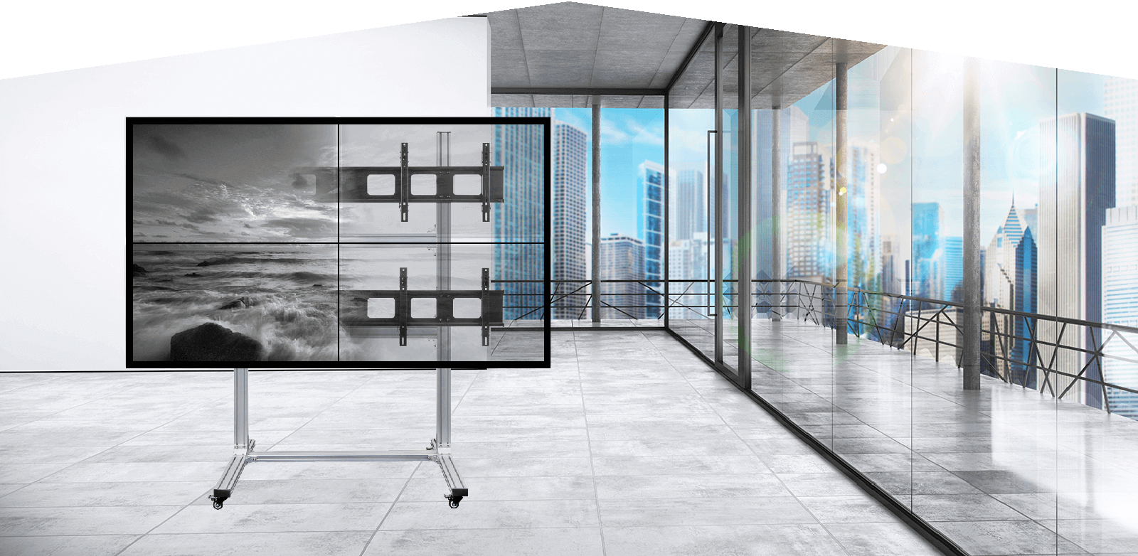 2x2 Video Wall Display Cart