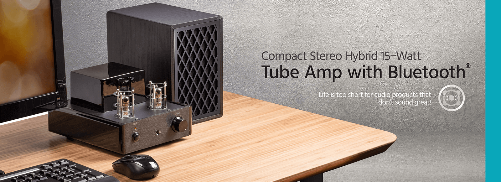 Compact Stereo Hybrid 15−Watt Tube Amp with Bluetooth