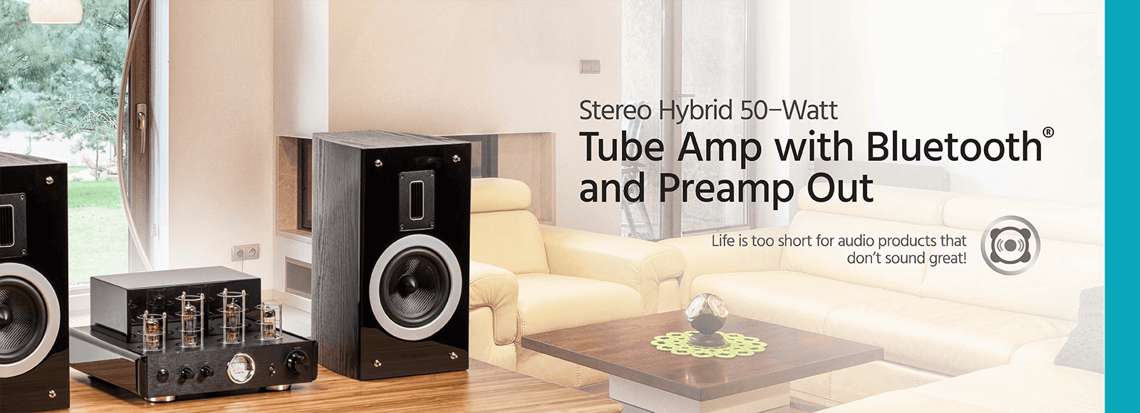 Compact Stereo Hybrid 50-Watt Tube Amp with Bluetooth