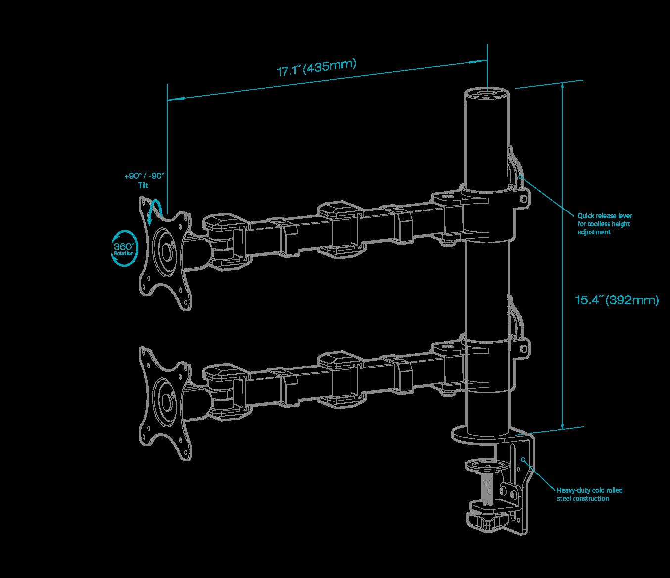 Einzelmonitor-Tischhalterung mit beweglichem Arm
