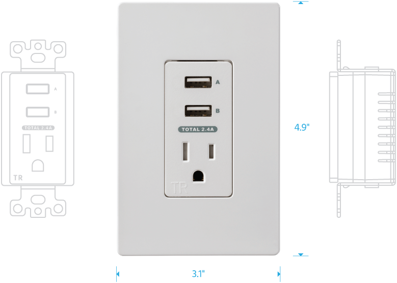 2 USB + 1 Outlet In-Wall Charger