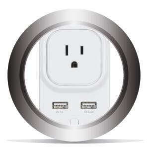 AC Outlet and 2x USB Ports