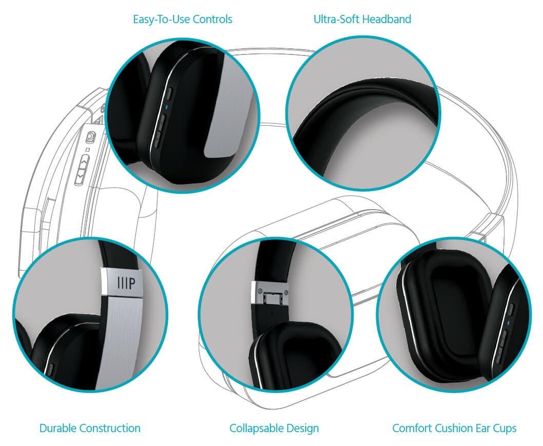 Monoprice BT-400 Bluetooth Over Ear Headphone with Qualcomm