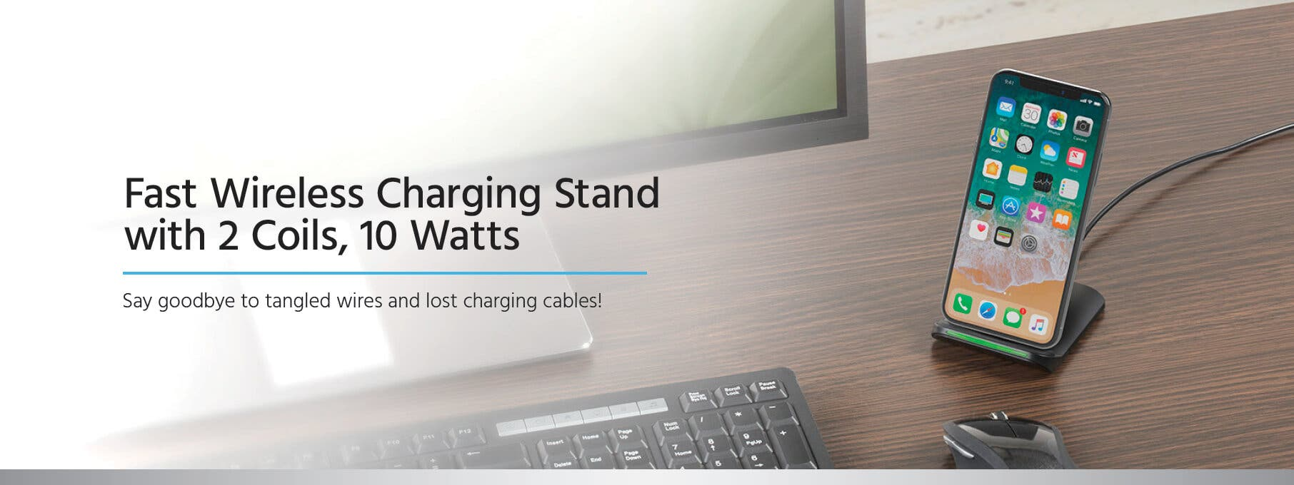 Monoprice Fast Wireless Charging Stand with 2 Coils, 10W, Qi