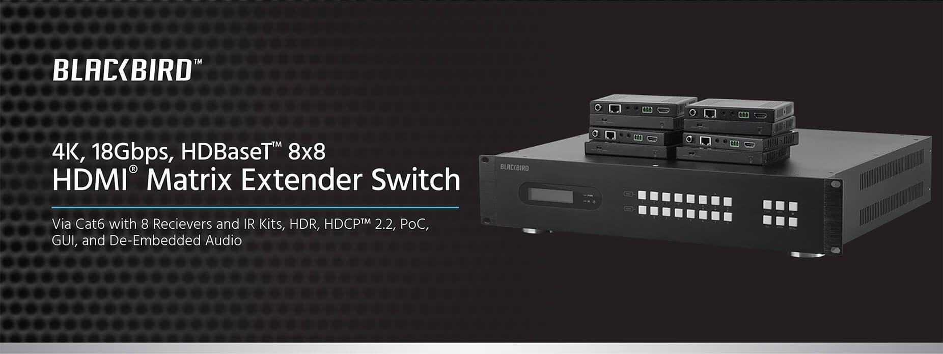 Monoprice Blackbird 4k 18gbps Hdbaset 8x8 Hdmi Matrix Extender Details About 4x4 Cat5e Cat6 Auto Switch Splitter