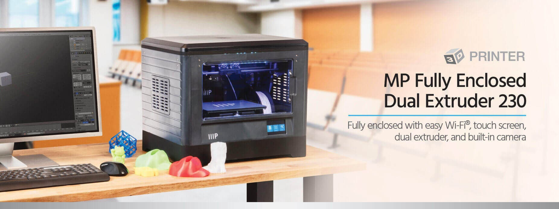 L'imprimante 3D MP Fully Enclosed Dual Extruder 230