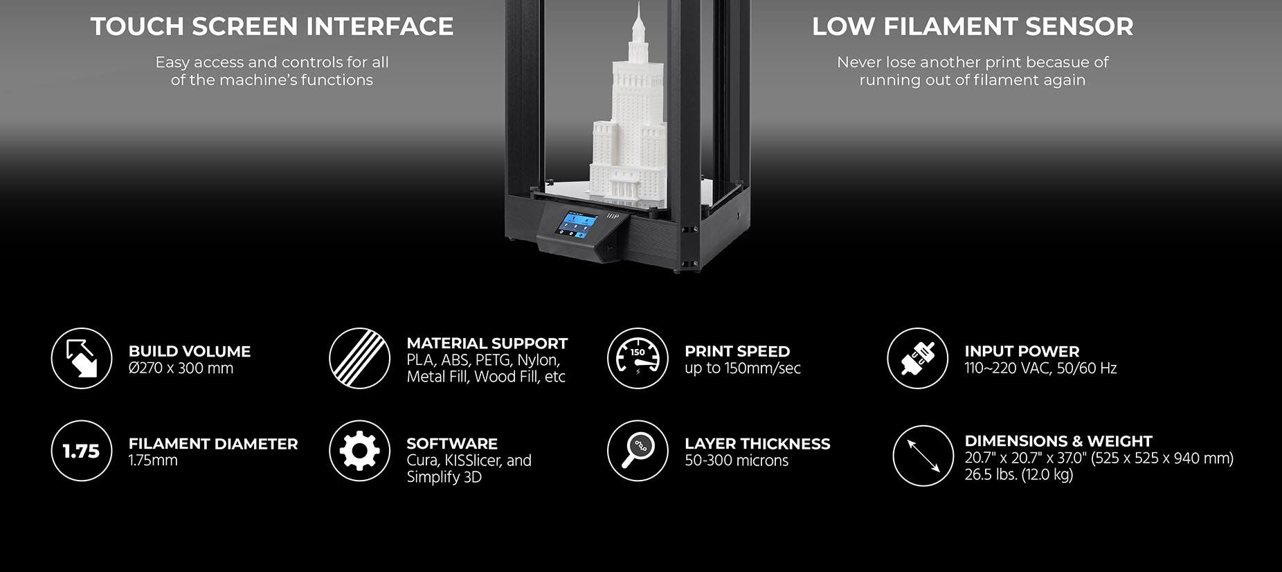 Monoprice MP Delta Pro 3D Printer, 32-bit ARM Processor