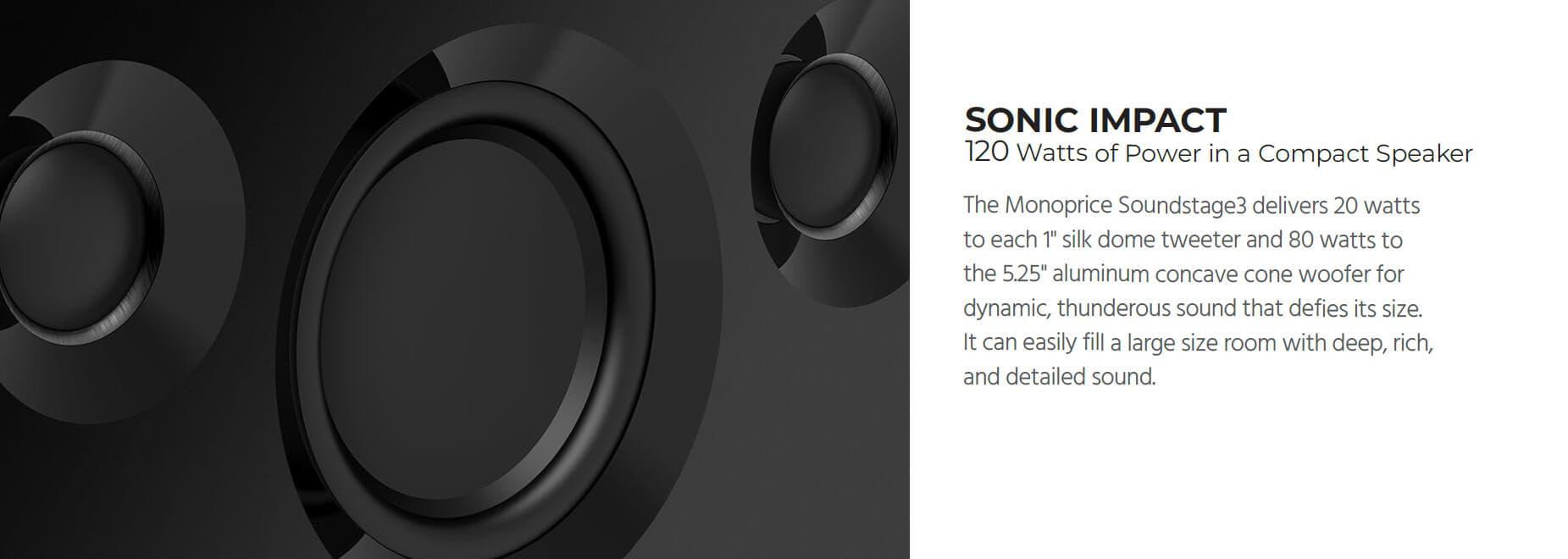 Monoprice Soundstage3 120 Watt True Wireless Stereo (TWS