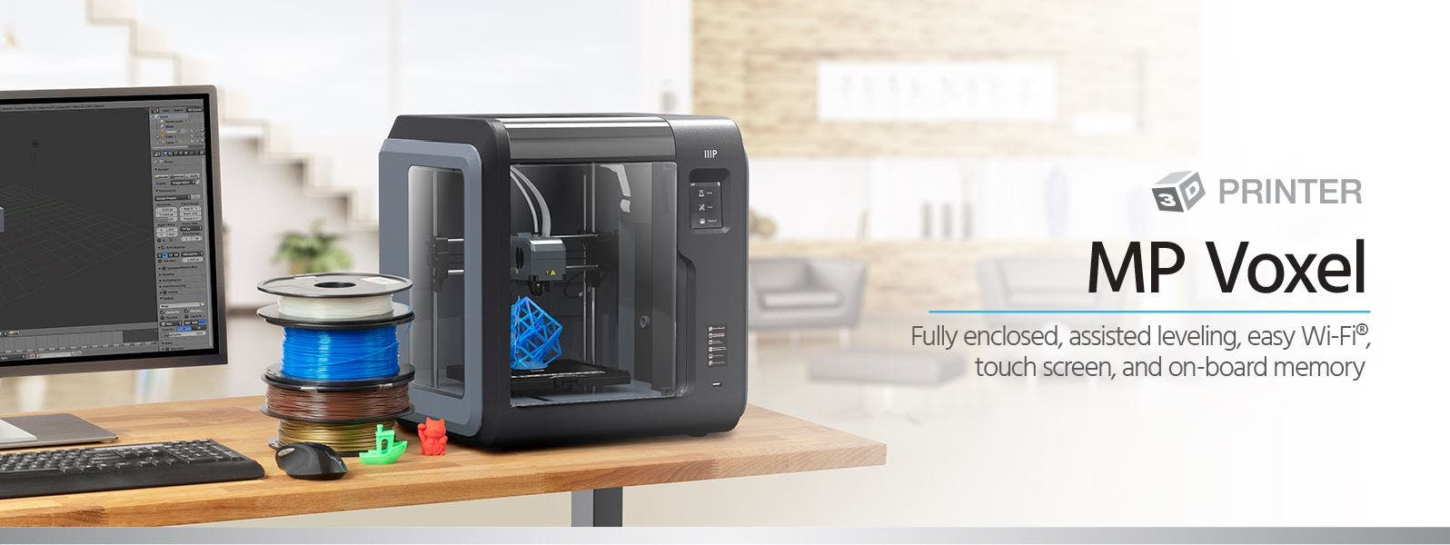 Monoprice MP Voxel 3D Printer, Fully Enclosed, Easy Wi-Fi, Touch