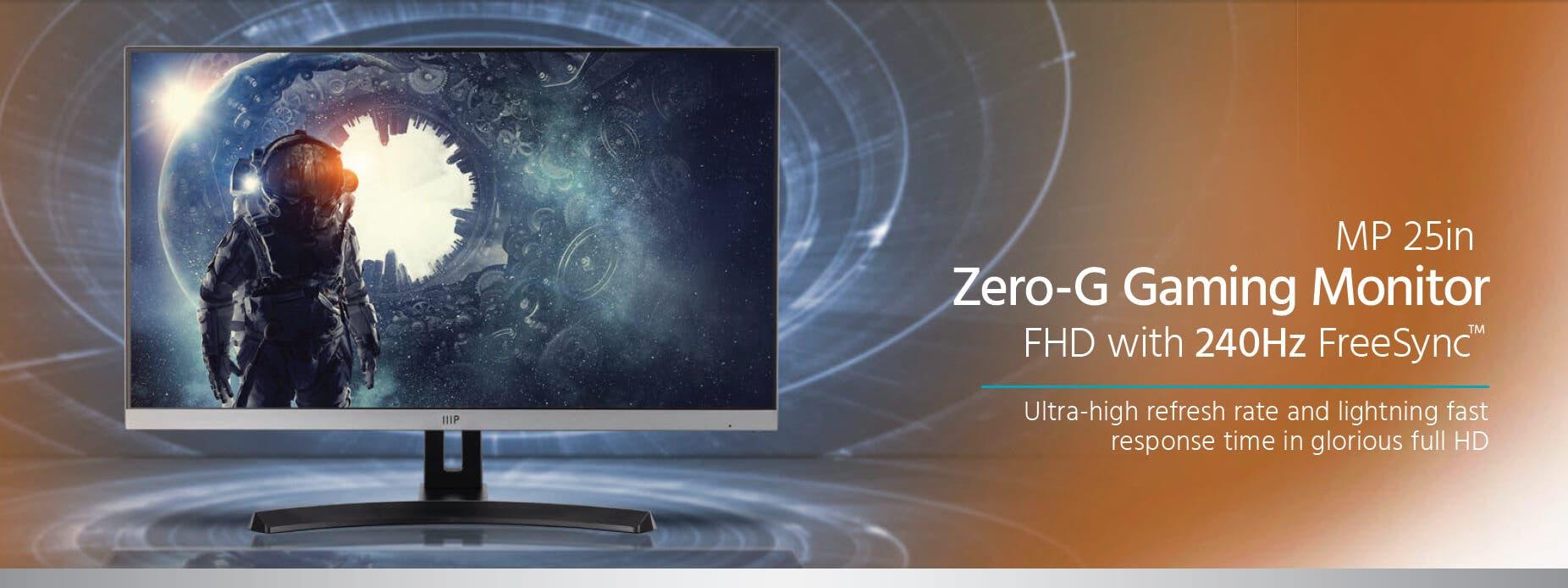 Monoprice MP 25in Zero-G Gaming Monitor – FHD, 240Hz, 1ms, FreeSync