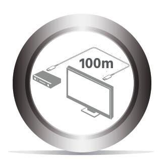 Übertragung über bis zu 100 m