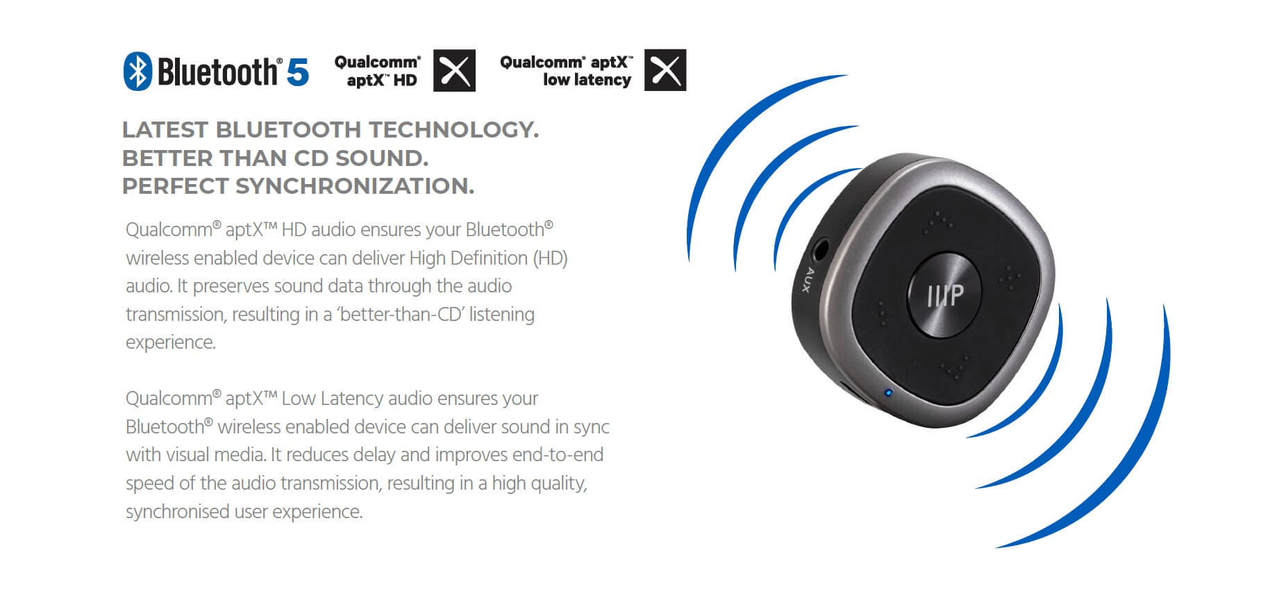 Monoprice Clip on Bluetooth 5 Transmitter & Receiver with