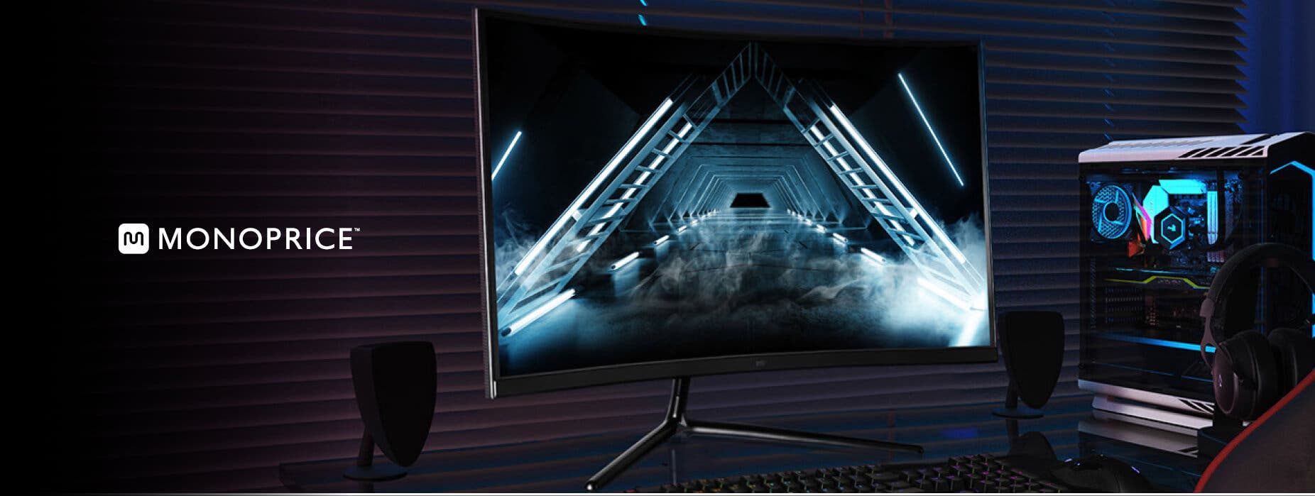 Monoprice Zero-G 27 inch Curved Gaming Monitor with 1500R curvature, 144Hz, refresh rate, and HDR support.