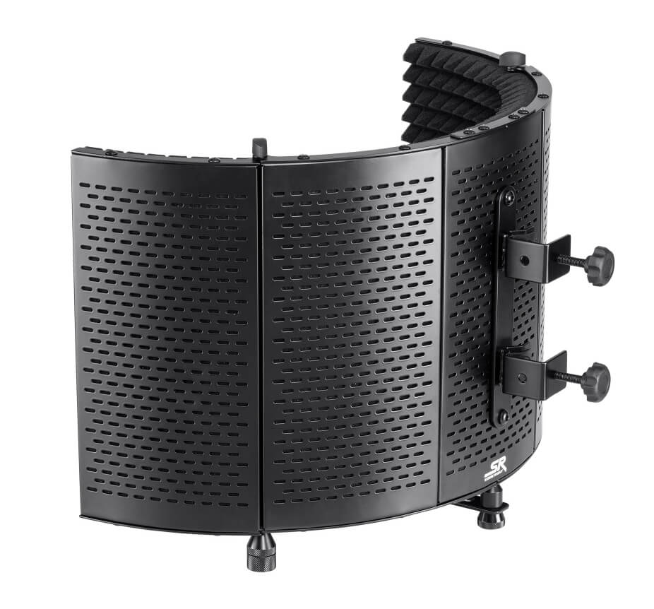 STABLE FRAME AND FOLDABLE. The Stage Right Microphone Isolation Shield features an acoustic foam front and a vented metal back plate, which provides a stable frame that prevents reflections within the arc of the shield. It uses a dual clamp mounting bracket, which attaches to microphone booms or stands up to 1 and 1/4 inches in diameter. The shield's two outer panels can be folded inward for storage or for creating a tighter acoustic isolation chamber.