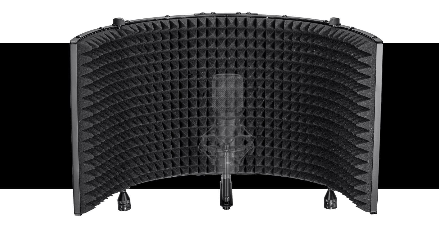 METAL SHIELD FOR STABILITY AND ARCH ADJUSTMENT. Unlike similar products made of plastic, the Stage Right Microphone Isolation Shield is not only made of metal, but is a full 23.5 inches wide when fully opened. Not only does this give it more stability, but it allows for adjustment of the arch, with the ability to open or close it as much as desired. Additional acoustic treatment is possible using the shield's crossbar to position the microphone closer to or further from the shield.