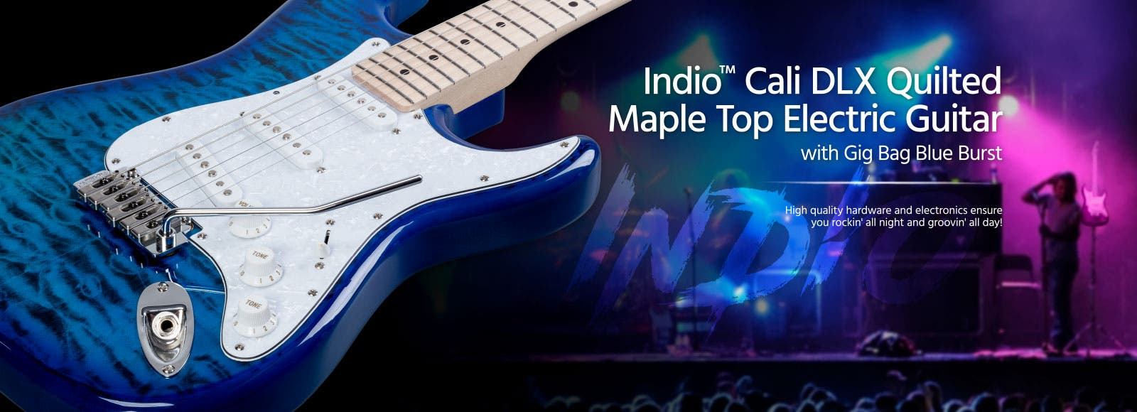 Indio Cali DLX Quilted Maple Top Electric Guitar