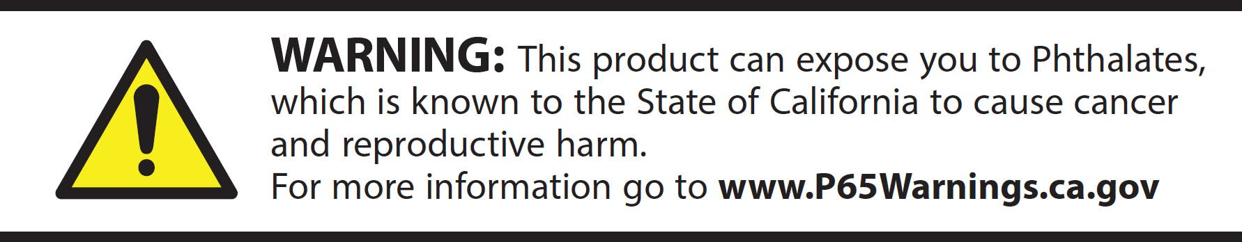 Warning: This product can expose you to Phthalates, which is known to the State of California to cause cancer and reproductive harm.